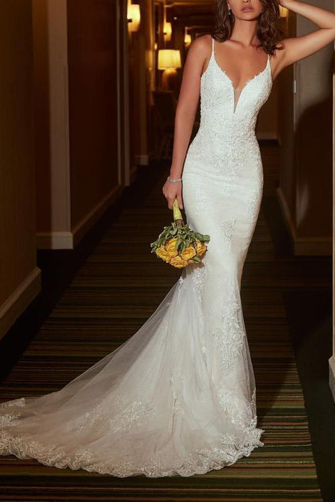 White Mermaid V-neck Lace Wedding Dress