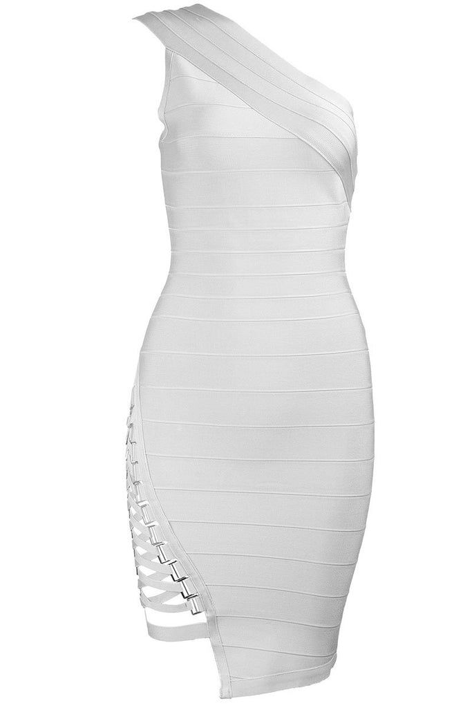 White One-shoulder Sexy Mini Bandage Dress