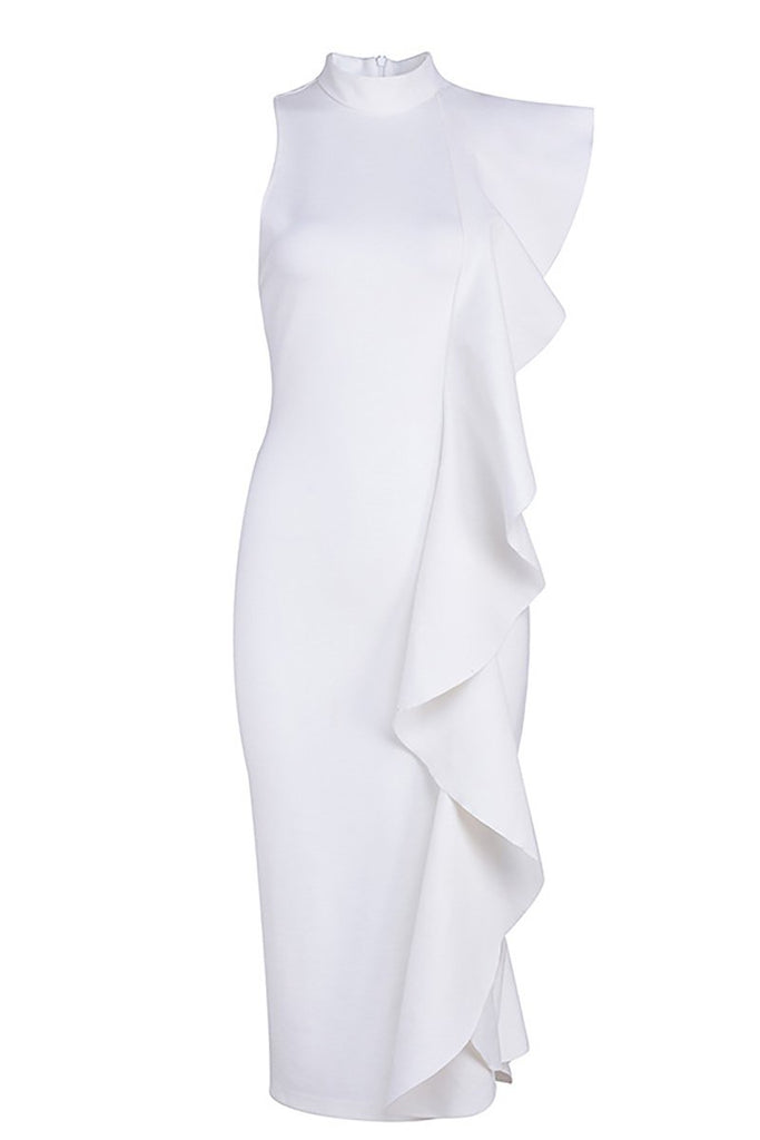 White Ruffle Slit Sexy Bandage Party Dress