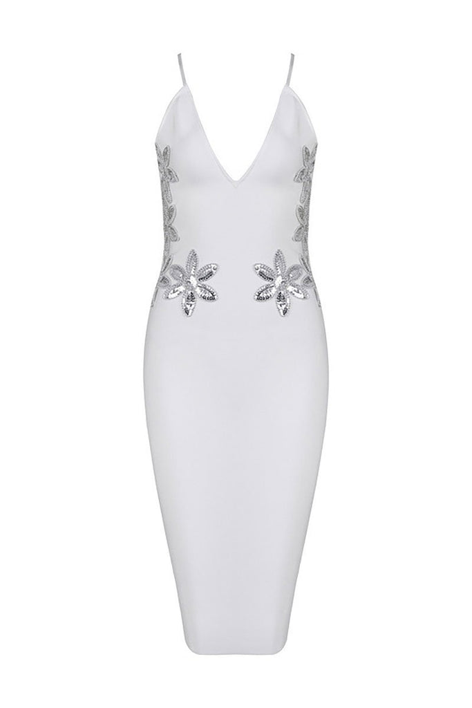 White Sequined V-neck Spaghetti Straps Bandage Dress