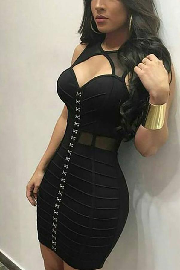 Sexy Black Cut Out Sleeveless Sexy Bandage Dress