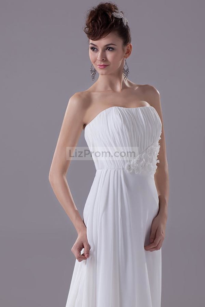 White Strapless Long Evening Formal Dress With Applique