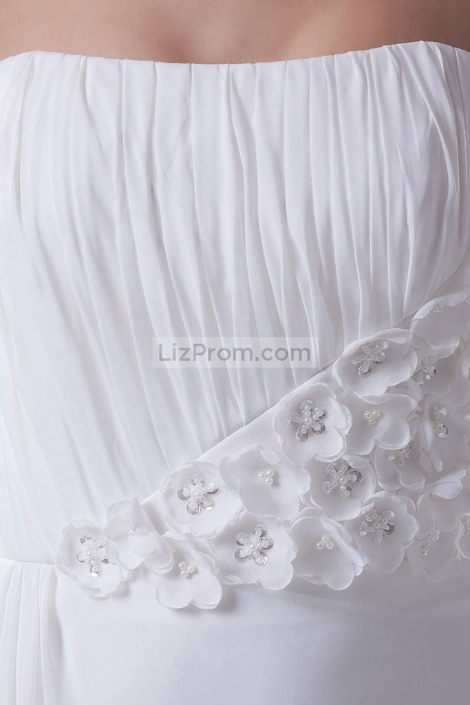 White Strapless Ruffled Long Prom Dress