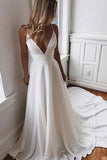White A-line Spaghetti Straps Deep V-neck Evening Dress