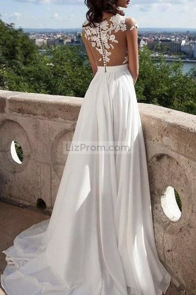 White Appliques Chiffon See Through Scoop High Slit Prom Dress1