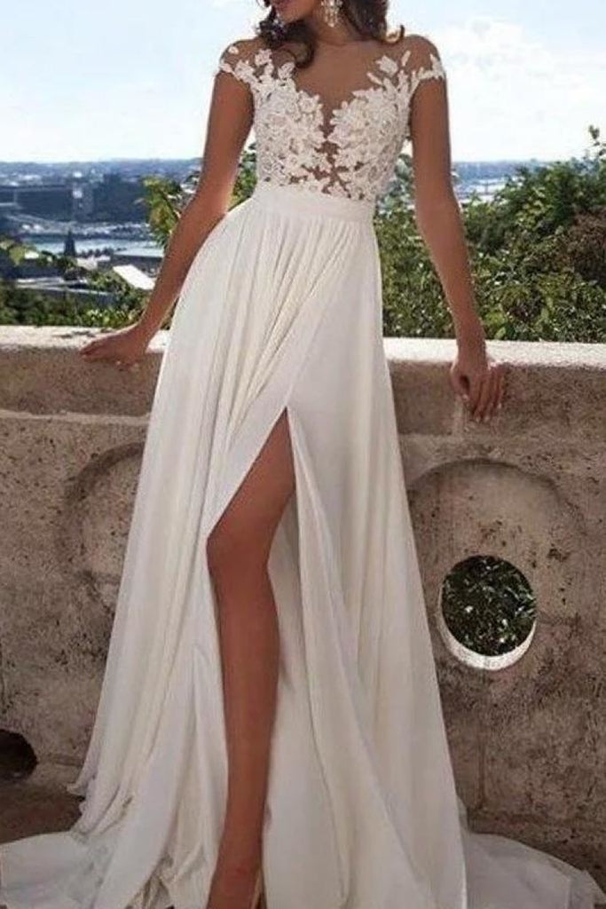 White Appliques Chiffon See Through Scoop High Slit Prom Dress