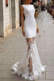 White Bateau Mermaid Sleeveless Tulle Appliques Evening Prom Dress