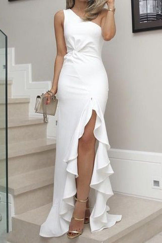 White High Low Mermaid Cocktail Evening Prom Dress