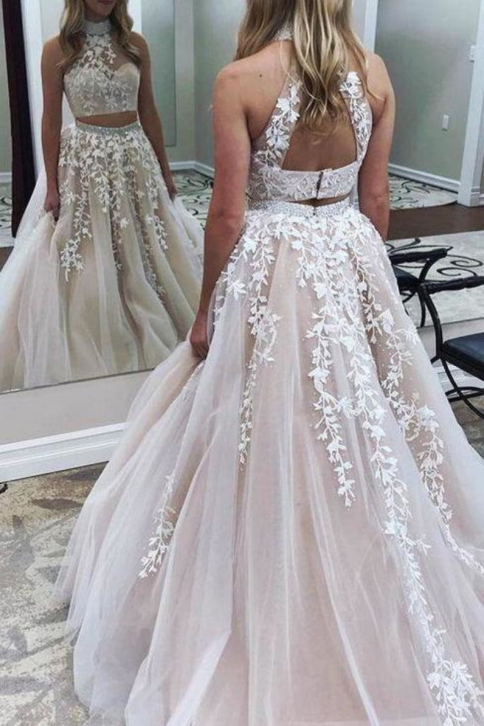 White High Neck Backless Flower 2-Pieces Lace Tulle Wedding Ball Gown Dresses