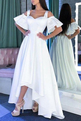 White Off The Shoulder Sweetheart High Low Prom Dress