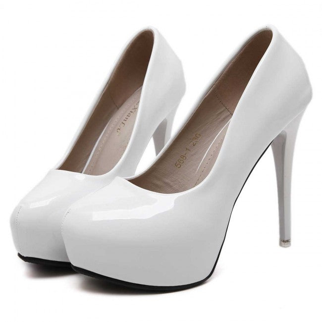 White Round Toe Women's Stiletto Prom Heels For Wedding