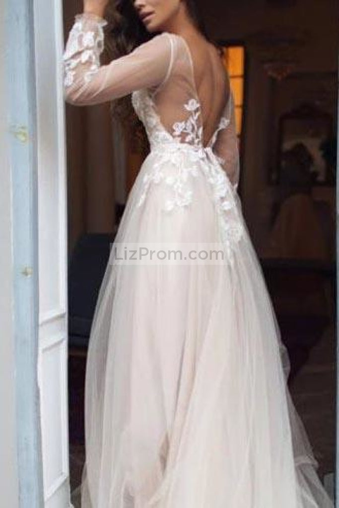 White Tulle Flower Lace Open Back Princess Wedding Ball Gown Dresses