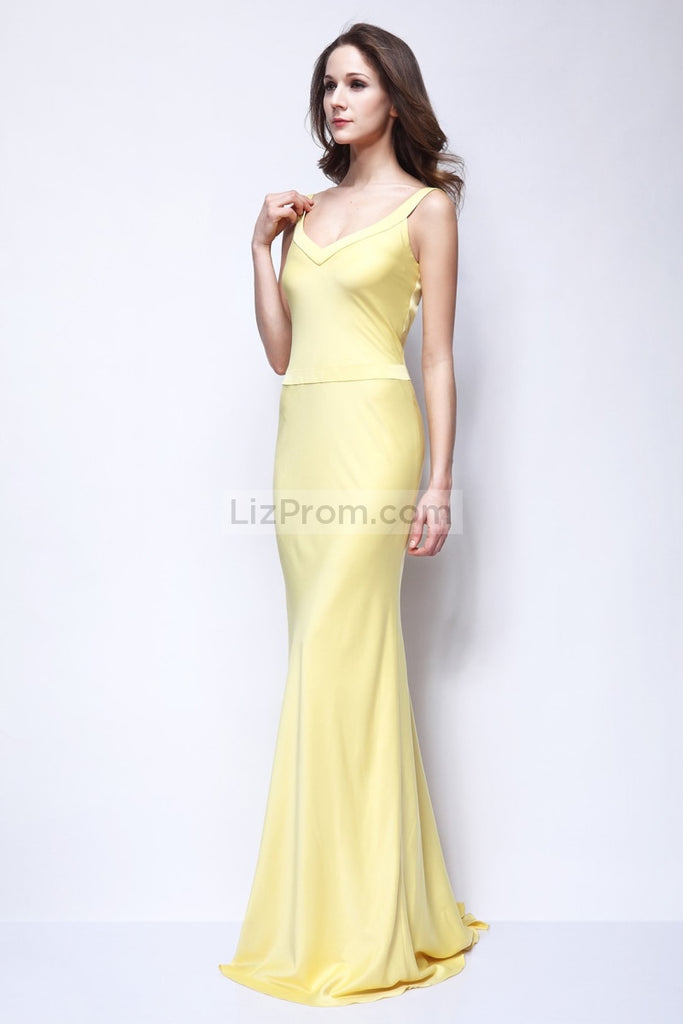 Yellow Column V-neck Prom Dress Inspired By Kate Hudson