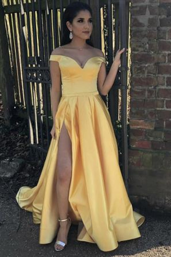 Yellow Off-The-Shoulder Thigh-High Slit Ball Gown Dresses
