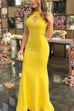 Yellow Halter Sleeveless Cut Out Evening Prom Dress