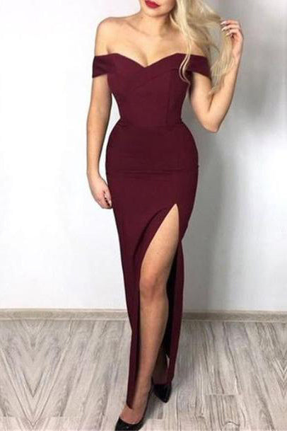 Long Burgundy Off-the-Shoulder Prom Dress Evening Gown