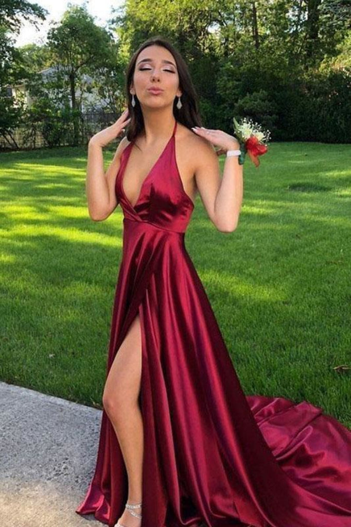 Burgundy V-Neck High Split A-Line Prom Dress Dresses
