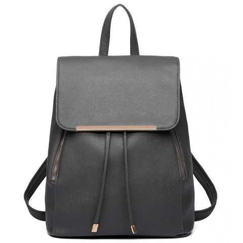 Faux Leather Fashion Backpack - Grey