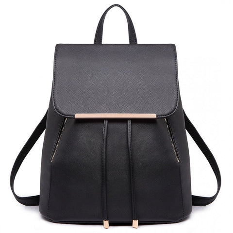Faux Leather Fashion Backpack - Black