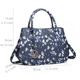 Bird Print Matte Oilcloth Shoulder Bag - Navy