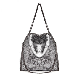 Metallic Effect Chain Shoulder Bag - Silver