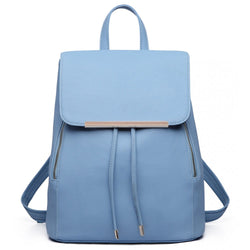 Faux Leather Fashion Backpack - Light Blue