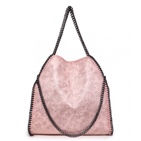 Metallic Effect Chain Shoulder Bag - Nude