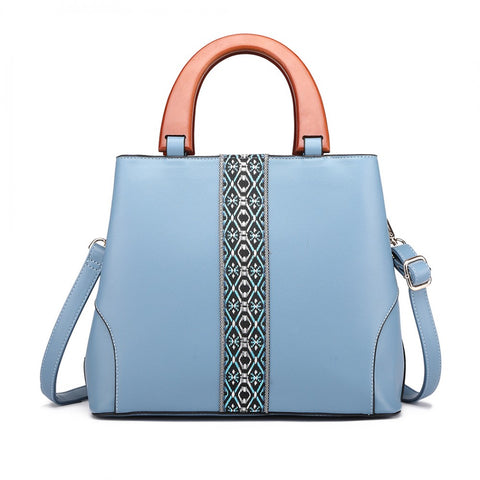 Leather Look Wooden Handle Shoulder Bag - Blue