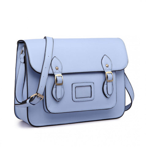 Satchel - Plain Light Blue Leather Look
