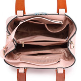 Leather Look Wooden Handle Shoulder Bag - Pink