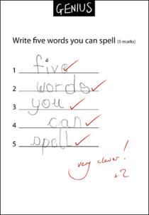 Genius - Write Five Words You Can Spell