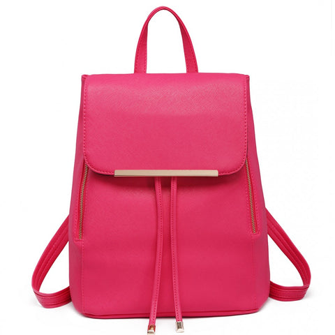 Faux Leather Fashion Backpack - Plum