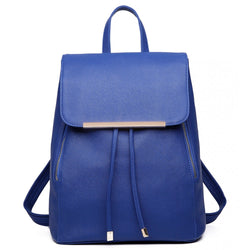 Faux Leather Fashion Backpack - Navy