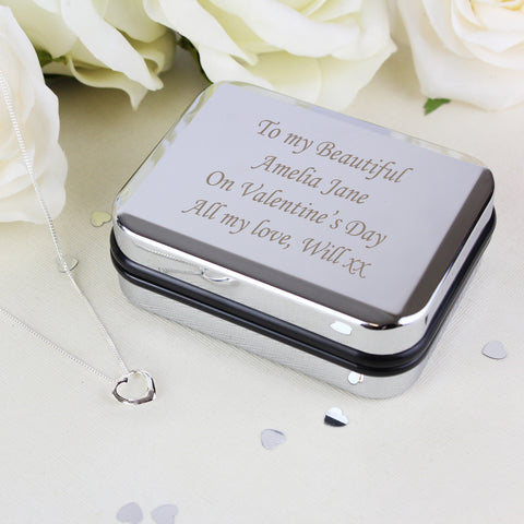 silver heart necklace box