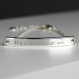 Personalised Silver Tone Bar Bracelet