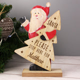 Personalised Santa Stop Here Wooden Santa Decoration
