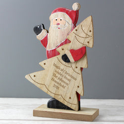 Personalised Santa Wooden Decoration