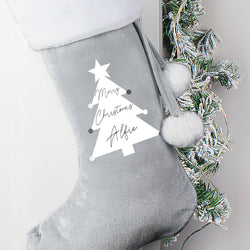 Personalised Christmas Tree Luxury Silver Grey Stocking - 10 Characters