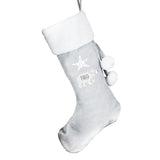 Personalised Baby Polar Bear Luxury Silver Grey Stocking - 12 Characters