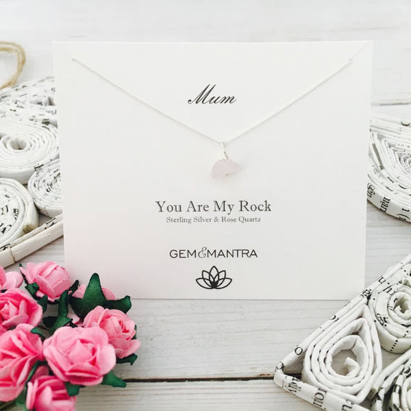 Mum - You Are My Rock, Sterling Silver & Rose Quartz Pendant