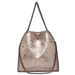 Metallic Effect Chain Shoulder Bag - Taupe