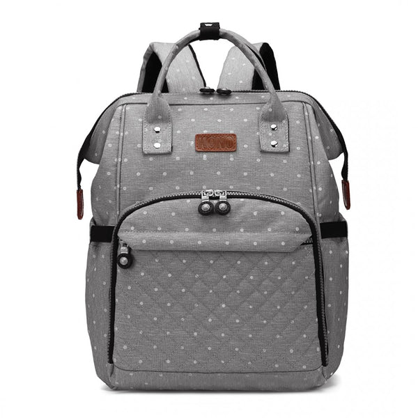 baby changing bag backpack grey dot