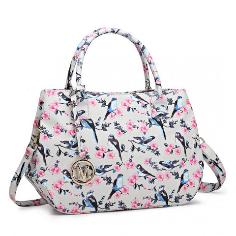Bird Print Matte Oilcloth Shoulder Bag - Beige