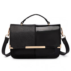 Half and Half Leather Look Shoulder Bag - Black