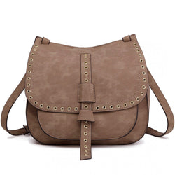 Suede Effect Cross Body Saddle Bag - Brown