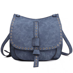 Suede Effect Cross Body Bag - Blue