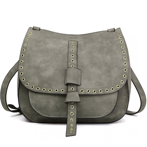 Suede Effect Cross Body Bag - Grey