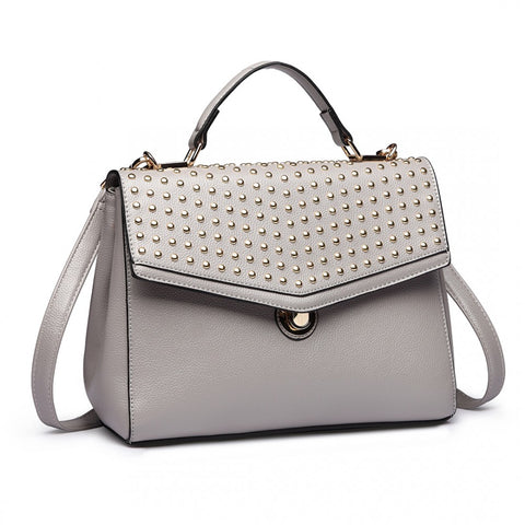 Studded Shoulder Handbag - Grey