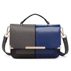 Half and Half Leather Look Shoulder Bag - Grey / Navy