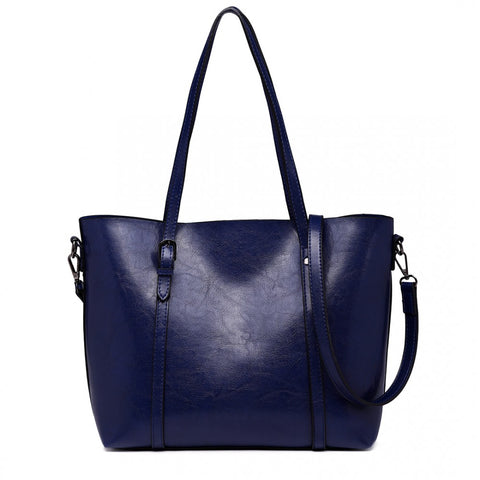 Trendy Tote Bag Wax Leather - Navy